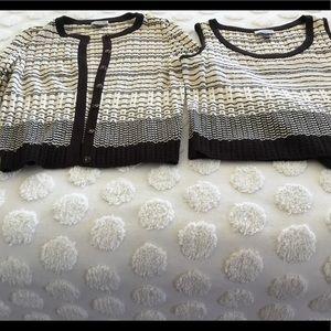 St. John's Sport sweater set cream and black.M